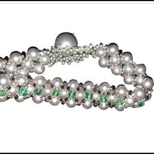5/$20 White Green Bead Handmade Bracelet Jewelry